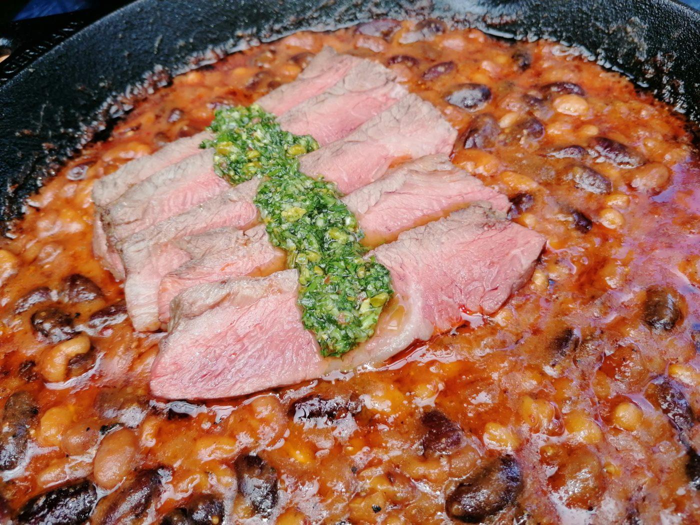 die Sachsengriller Grill Rezept Chili Bohnen Pfanne mit Steak