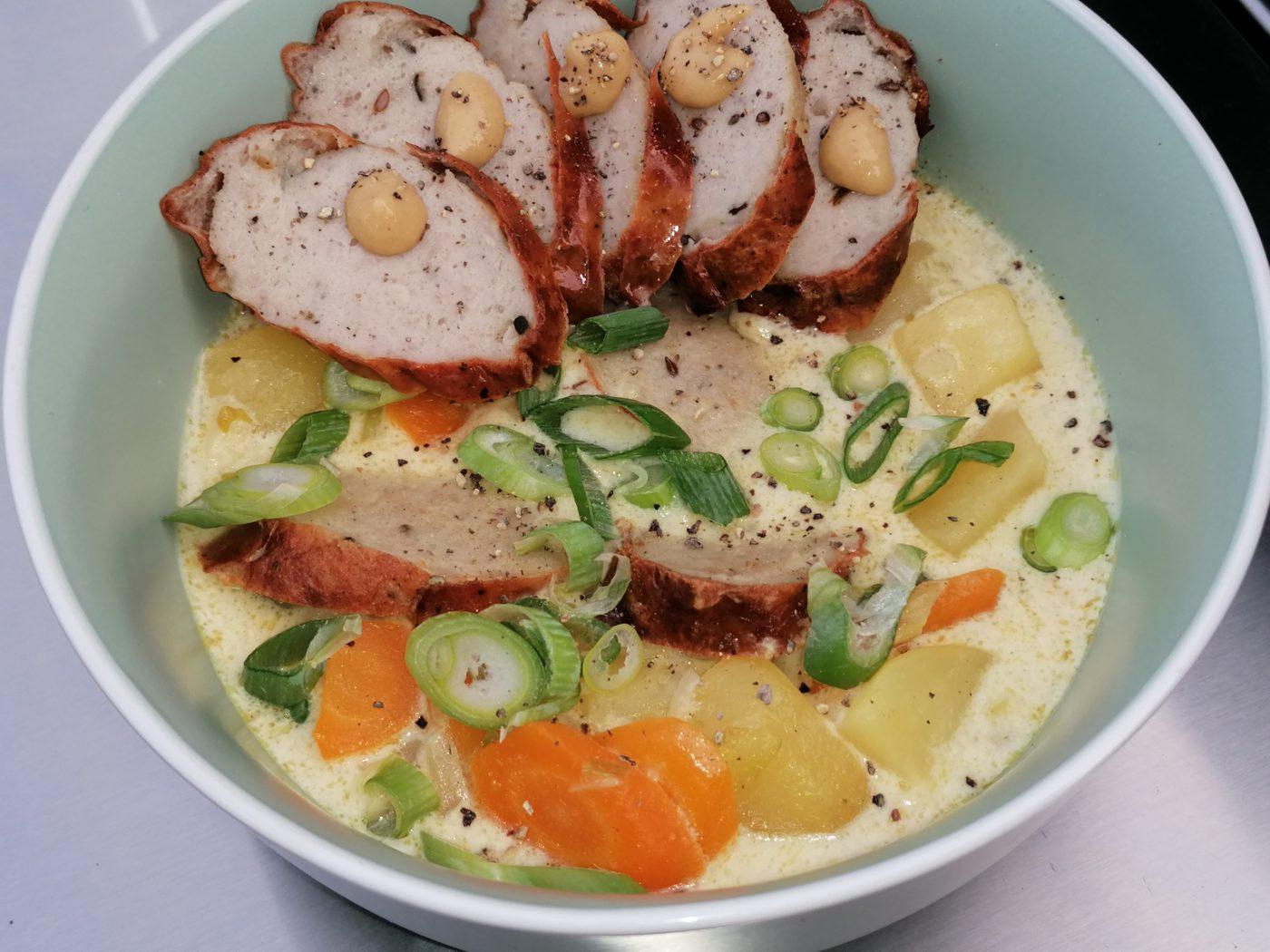 die Sachsengriller Grill Rezept Bratwurst Suppe mit Senfsoße