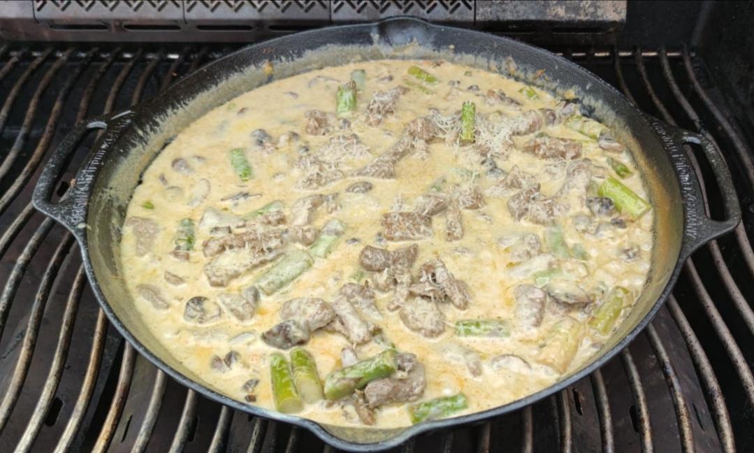 die Sachsengriller Grill Rezept Filet-Spargelpfanne